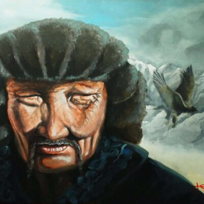 Tibetan eagle hunter 60x80cm-min